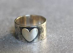 Heart Ring wide band hammered sterling silver ring, sweetheart, gift for her. by anatajewelry on Etsy https://www.etsy.com/listing/203042141/heart-ring-wide-band-hammered-sterling