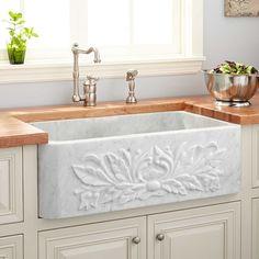 "24"" Ivy Polished Marble Farmhouse Sink - Carrara"