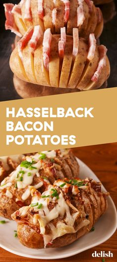 The Bacon Technique That'll Forever Change The Way You Look At A Potato Delish Loaded Twice Baked Potatoes Best Twice Baked Potatoes, Crock Pot Baked Potatoes, Easy Baked Potato, Perfect Baked Potato, Twice Baked Potatoes Casserole, Stuffed Baked Potatoes, Baked Potato Recipes, Bacon Potato, Hasselback Potatoes
