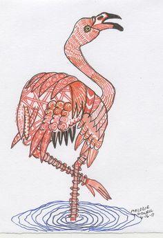 zentangle, flamingo by vicmelhorse, via Flickr