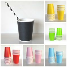 Coloured Paper Cups Paper Plates, Paper Cups, Colored Paper, Dinnerware, Planter Pots, Wedding Decorations, Party Things, Baby Shower, Product Design