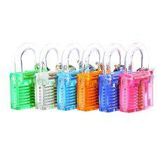 6Pcs Colorful Transparent Visible Cutaway Padlock Lock Pick for Locksmith Practice Training. materiales de construccion