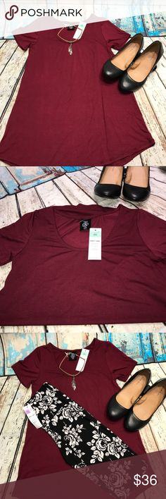 A&D Everyday Tee NWT Agnes & Dora Everyday Tee- XXS, Maroon    •Subtle hi-lo hemline •Short Sleeved •Scoop Neck  - - Such a soft tee that lays perfectly on and very flattering.  Made from:  Jersey (95% Rayon Modal 5% Spandex) Agnes & Dora Tops Tees - Short Sleeve