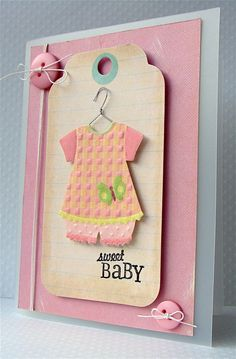 https://flic.kr/p/6AQmio | Sweet Baby | Card created for the Caardvarks Design Team Gallery, using K&Co and ShortCuts products - here, a frosted acetate cardblank.     K&Co: Brenda Walton - Small Wonders Girl - Embossed Stickers Brenda Walton - Dollhouse Mat Pad and Tag Pad  Inkadinkado: Brenda Walton baby Animals Clear Stamps  Hero Arts: CH148 - Card Buttons Spring  My blog