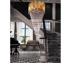 Modern Chandeliers: Bold Choices Made to Impress Chandelier, Staircase, Modern Design, Luxury Homes, Home, Luxury, Modern, Home Decor, Living Design