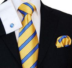 Paul Malone Necktie, Pocket Square and Cufflinks 100% Silk Yellow Blue Stripes  http://www.yourneckties.com/paul-malone-necktie-pocket-square-and-cufflinks-100-silk-yellow-blue-stripes/