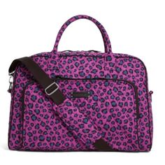 Vera Bradley leopard spot weekender This is a brand new with tags Vera Bradley weekender in leopard spots. It comes with a detachable long strap, has pockets inside and out and a luggage trolley sleeve in the back to slip over the handles of your luggage. Carry on compliant this will fit right under the seat in the airplane. Vera Bradley Bags