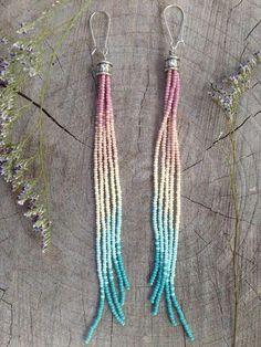 Long Tassel Earrings Long Beaded Earrings by WildHoneyPieDesign Tassel Earing, Long Tassel Earrings, Fringe Earrings, Diy Boho Earrings, Crystal Earrings, Gold Earrings, Seed Bead Jewelry, Beaded Jewelry, Handmade Jewelry
