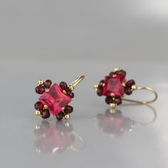 Pink Corundum Zircon Victoria Earrings - Earrings