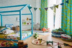 At Scion, we like to create fun and playful interiors and what better room to do it in than a kids playroom! Here we combined varying fabric and wallpaper designs from our new 'Guess Who' collection in a palette of turquoise, aqua and lime! Boy Toddler Bedroom, Boy Room, Kids Bedroom, Boys Bedroom Wallpaper, Kids Wallpaper, Alphabet Wallpaper, In A While Crocodile, Modern Wallpaper, Wallpaper Designs