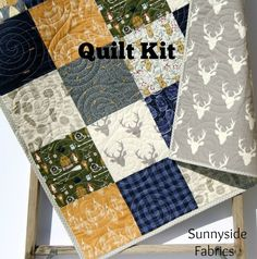 Blue Buffalo Plaid Quilt Kit, Woodland Boy Lumberjack Plaid Check, Sewing Quilting Ideas, Deer Camping