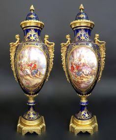 Decorative Urns With Lids Best A Pair Of Large Sèvresstyle Porcelain Gilt Bronzemounted Design Ideas