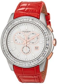 Akribos XXIV Womens AK621RD Lady Diamond Swiss Quartz Crystal MotherofPearl Silvertone Stainless Steel Red Leather Strap Watch -- Want additional info? Click on the image.
