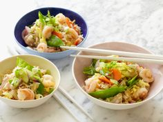 Lightened Shrimp Fried Rice from FoodNetwork.com I will use egg substitute and extra virgin olive oil