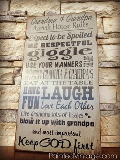 House Rules  Grandma & Grandpa's by PaintedVintageDecor on Etsy,  now available in my Etsy shop!