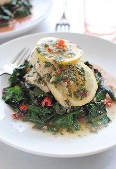 Lemon Butter-Braised Sole with Swiss Chard | recipe from Bev Cooks