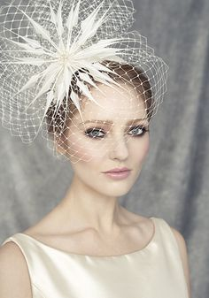 Rachel Trevor Morgan Millinery - Bridal R1519 Silk taffeta crescent with spike feather flower and veil