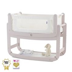 SnuzPod 2 with Mattress - 3 in 1 Bedside Crib in Blush