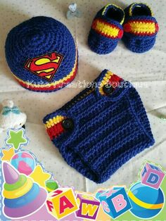 Inspirado Superman ganchillo bebé sombrero del pañal cubierta zapatos conjunto, bebé set de Superman.
