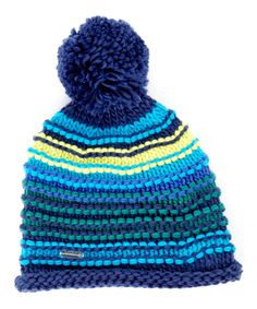 Look at this Cool Blue Finish Lines Pom-Pom Beanie on #zulily today!