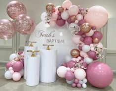 💕 Teah's Baptism 💕 Thank you to the beautiful mom Diane for having us be part of her daughters baptism . Christening Balloons, Christening Decorations, Baby Girl Christening, Balloon Garland, Balloon Decorations, Birthday Party Decorations, Balloon Ideas, Baby Shower Themes, Baby Shower Decorations