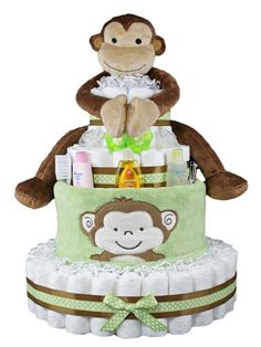 Monkey Diaper Cakes for Baby Showers