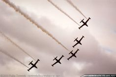 """The """"Black Falcons"""" were formed in 2000 to mark the Millennium Celebrations from No. 14 Squadron of the Royal New Zealand Air Force (RNZAF).They flew five Aermacchi MB-339CB jet trainers, painted in a standard RNZAF color scheme. The planes were equipped with white smoke generators and ..."""