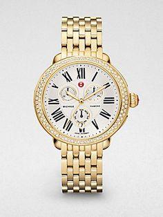 Michele Watches Serein Diamond Goldplated Bracelet Watch