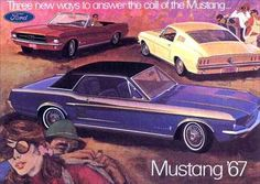 The 1967 Ford Mustang promotional booklet says, Three new ways to answer the call of the Mustang. The cover shows a Candyapple Red convertible, an Acapulco Blue with black vinyl top hardtop, and a Springtime Yellow fastback Classic Mustang, Ford Classic Cars, Classic Auto, Ford Mustang 1967, Ford Mustangs, 1954 Ford, Mustang Fastback, Mustang Cars, Car Ford