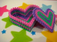 Hama bead heart box by Shimmerbrite on deviantART 3d Perler Bead, Perler Bead Templates, Hama Beads Design, Diy Perler Beads, Pearler Beads, Fuse Beads, Melty Bead Patterns, Perler Patterns, Beading Patterns