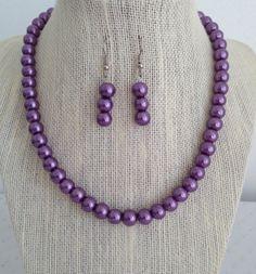 Purple Pearl Necklace Bridesmaid Jewelry by CherishedJewelryCo, $24.00