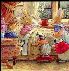 FRIENDS VISIT SICK FRIEND,RABBIT,MOUSE,HEDGEHOG,BADGER,FOXWOOD TALE POSTCARD