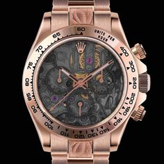 """MAD Customized Rolex Daytona Ref. 116505Solid 18K rose gold, custom skeleton dialOscillator and plate ornamented with an openworked """"bas-relief""""Engraved strap and buckle, and sapphire backcase Custom hands and markers"""