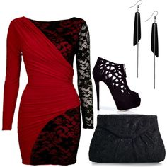 Red dress, created by doriann on Polyvore