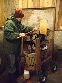 I love old cider presses. This one is a bit different than the one at my work- Mills Apple Farm. But looks like its getting the job done.