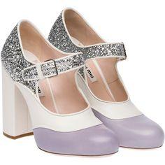 Miu Miu Pump (2.620 BRL) ❤ liked on Polyvore featuring shoes, pumps, heels, miu miu, wisteria purple, heel pump, purple glitter pumps, high heel shoes, mary-jane shoes and wide heel pumps