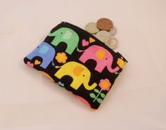 Funky Elephant Fabric Coin Purse - Free P