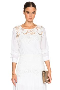 Image 1 of See By Chloe Lace Long Sleeve Top in Cloud Dancer