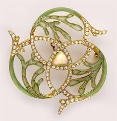 Plique-à-jour enamel, diamond, opal and gold brooch. French. (n.d.)