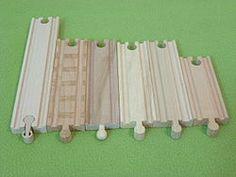 Medidas estándar para vías de trenes de madera (Wooden toy train - Wikipedia, the free encyclopedia)