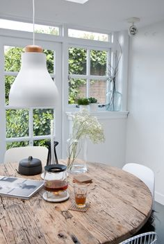 rustic dining tabletop sets off the modern chairs and light pendant at home with interior stylist fleur holl / sfgirlbybay Interior And Exterior, Interior Design, Interior Stylist, Wooden Tables, Rustic Table, Rustic Wood, Round Wooden Dining Table, Home And Living, Interior Inspiration