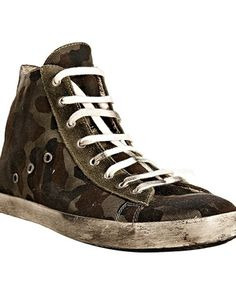 Leather Crown military green camouflage canvas hi top sneakers