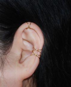 Clip oorbellen - 16K goud gedompeld Twins X oor manchet - Een uniek product van TakeOnMe7 op DaWanda
