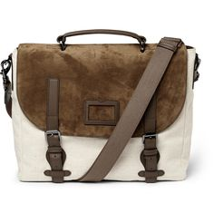 MULBERRY ROCKLEY SUEDE AND CANVAS MESSENGER BAG