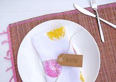 DIY: (keuken)textiel bestempelen met citroenen