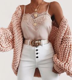 Bubble knit cardigan outfit idea for fall! Casual outfit with a cardigan, lace c. - Bubble knit cardigan outfit idea for fall! Casual outfit with a cardigan, lace cami, and white high - Winter Fashion Outfits, Cute Fashion, Look Fashion, Womens Fashion, Fashion Ideas, Fashion Trends, Fashion Spring, Edgy Teen Fashion, Ladies Fashion