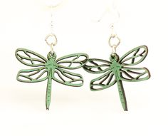 Wood Earrings- Dragonfly