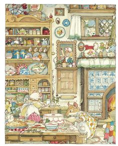 In 'Spring Story' Mr. Apple takes advantage of an idyllic spring day to plan a surprise birthday party for a cranky little mouse who fears he's been forgotten. (From Brambly Hedge by Jill Barklem who was a British writer and illustrator) Brambly Hedge, Children's Book Illustration, Book Illustrations, Beatrix Potter Illustrations, Conte, Hedges, Pretty Pictures, Illustrators, Fantasy Art