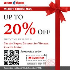 Save 20% OFF to get Vietnam visa in this time. Please apply promotion code: MR20T12 at vietnam-evisa.org/apply-visa