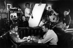 Brad Pitt and Edward Norton filming Fight Club.